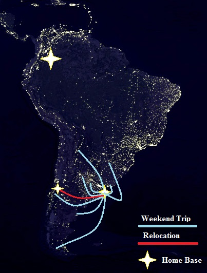 map of south america, map of south america at night, map of argentina, itinerary around the world