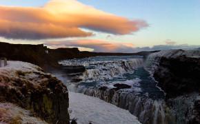 Frozen Gulfoss Falls Iceland