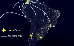 earth at night, map of south america, map of colombia