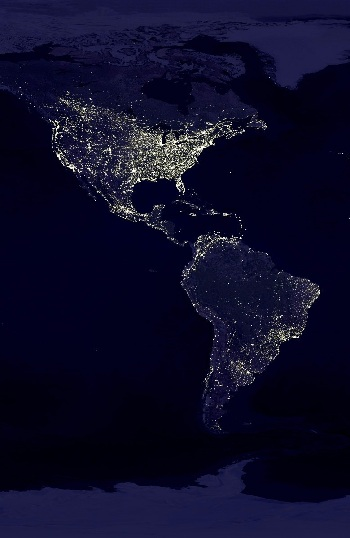 map of the americas, america at night, map of south america, map of north america