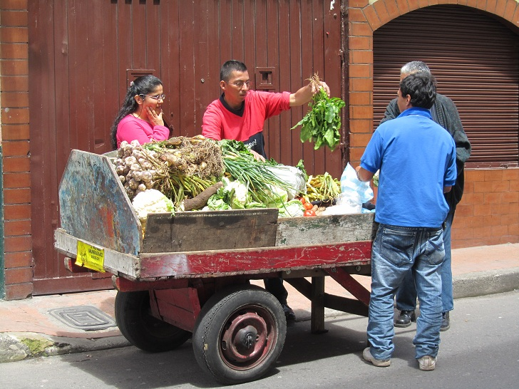 food in colombia, vegetables in colombia, food on the street colombia
