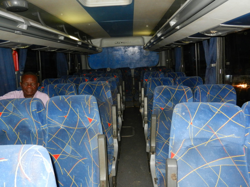 Bus Interior in Zambia, bus travel in africa, bus travel in zambia