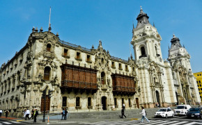 Archbishop's Palace of Lima in Plaza De Mayor Peru