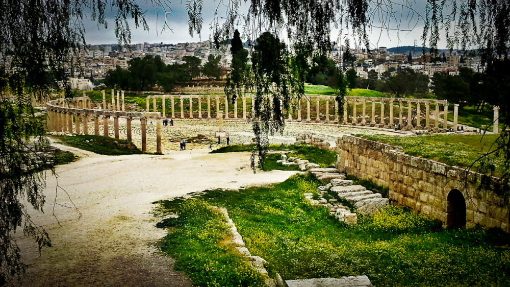 Oval Plaza in the Ancient City of Jerash Jordan