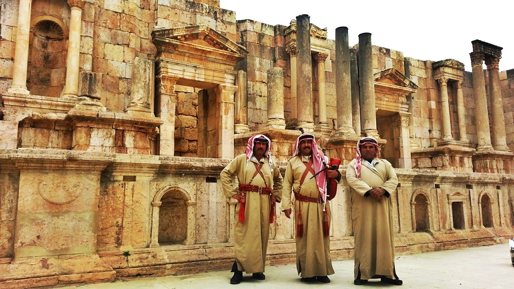 Roman theater in Jerash with locals!