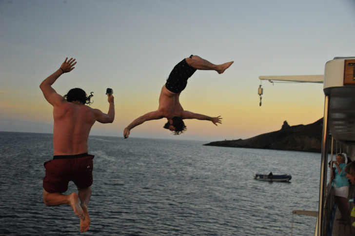 Jumping Off Yachts In The Galapagos