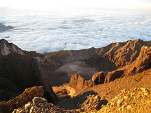 View from the summit of Gunung Rinjani Mount